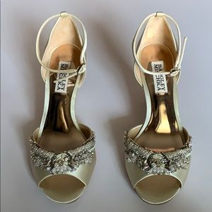 Badgley Mischka Embellished Satin Bridal Shoes
